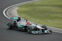 Michael Schumacher (Mercedes-AMG) při posledním startu na Hungaroringu (2012)